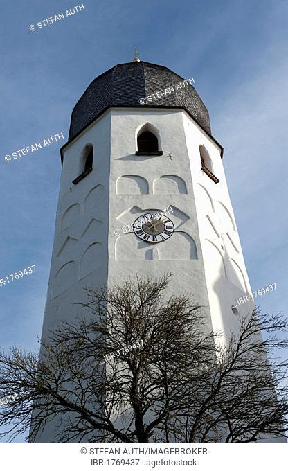 Church tower with clock, bell tower, the Benedictine monastery Frauenwoerth, Fraueninsel island, Lake Frauenchiemsee or Chiemsee, Chiemgau, Upper Bavaria