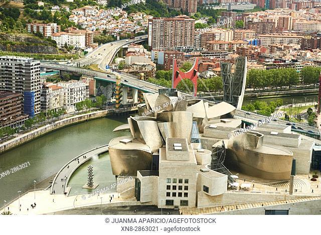 Guggenheim Museum and La Salve Bridge, Bilbao, Biscay, Spain, Europe