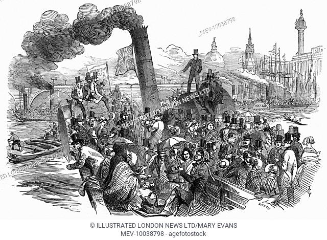 A steamboat excursion to Greenwich on the Thames on an Easter Monday