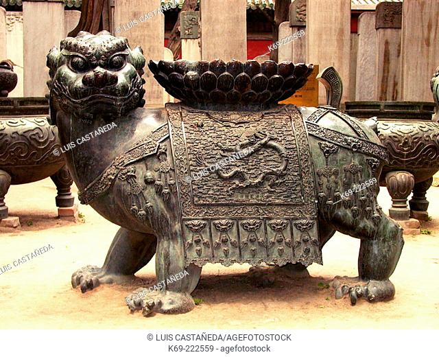 Bronze lion at Confucius Temple. Beijing. China