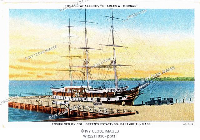 This vintage postcard from the 1930s shows the whaleship Charles W. Morgan tied up at the dock at Colonel Edward H.R. Green's estate at Round Hill in South...
