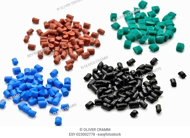 different dyed polymer resins
