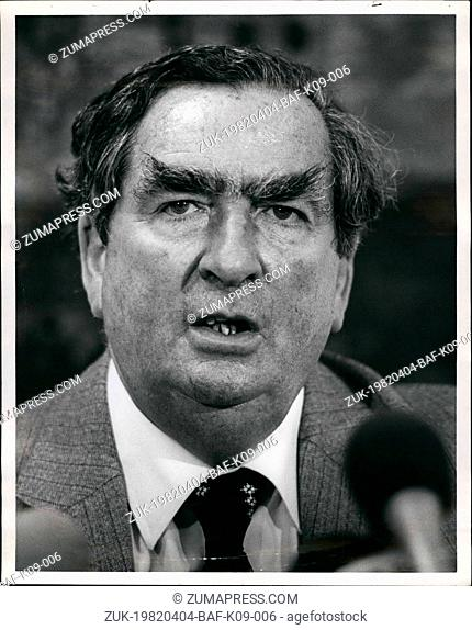 Apr. 04, 1982 - Mr. Dennnis Healy spokesman for the opposition part in England spoke to reporters today in New York City about the unamity of the British...