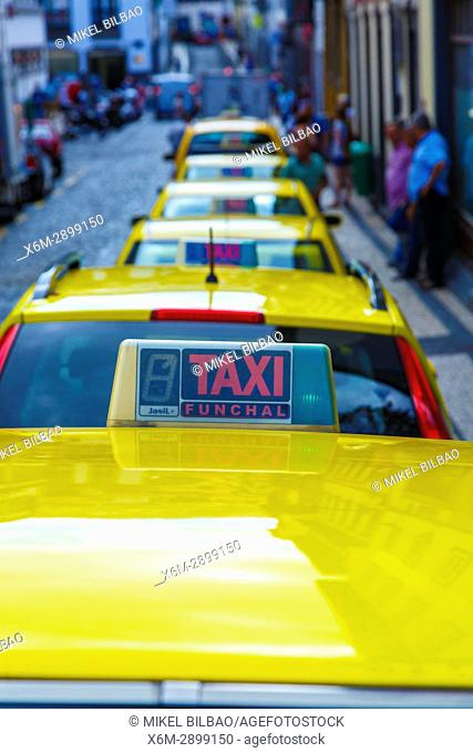 Taxis in a Taxi stand. Funchal. Madeira, Portugal, Europa