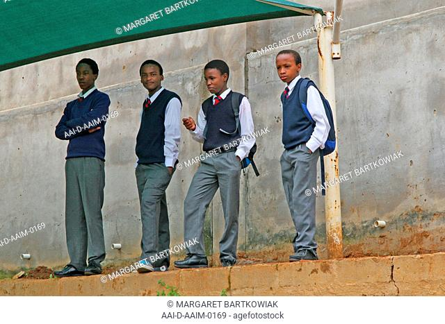 School boys under shade structure, St Mark's School, Mbabane, Hhohho, Kingdom of Swaziland