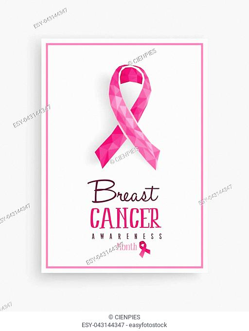 Breast cancer awareness month illustration with pink low poly ribbon bow and text quote for support campaign. EPS10 vector