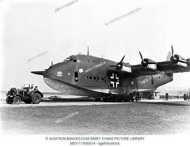 Prototype Blohm & Voss Bv-222 V1 Viking Seaplane D-Ante X4+Ah with Towbar and Tug Attached