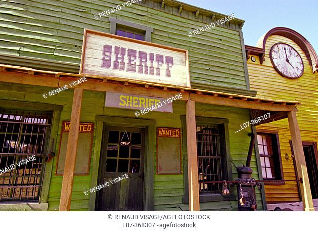 Film set of Sheriff's office at Texas Hollywood near Tabernas. Andalucia. Spain