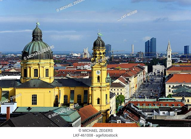 St. Cajetan's church and Theatinerkirche on the outskirts of the historic city centre, with Ludwigstrasse and the Siegestor triu