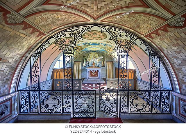 The Italian Chapel constructed of 2 nissen huts in 1942 at Italian prisoner of war Camp 60 next to Sapa Flow. The Italian inmates under the direction of their...