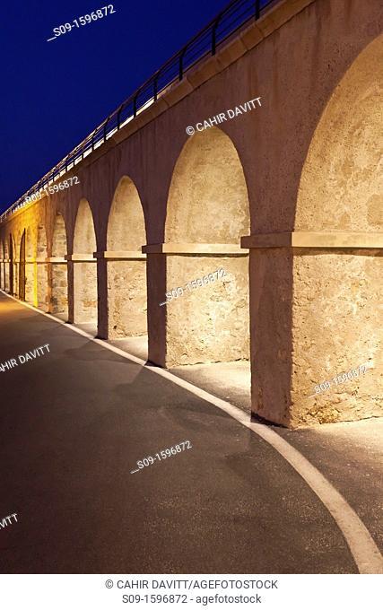 The harbour walls of Saint Jaume Bastion at night, La Fontonne, Antibes, Provence Alpes Cote d'Azur, France