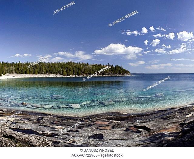 View of Little Cove bay, Tobermory, Bruce Peninsula shoreline, Lake Huron, Ontario, Canada