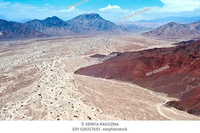 Aerial view of Peruvian Desert near Nazca and the Nazca Lines