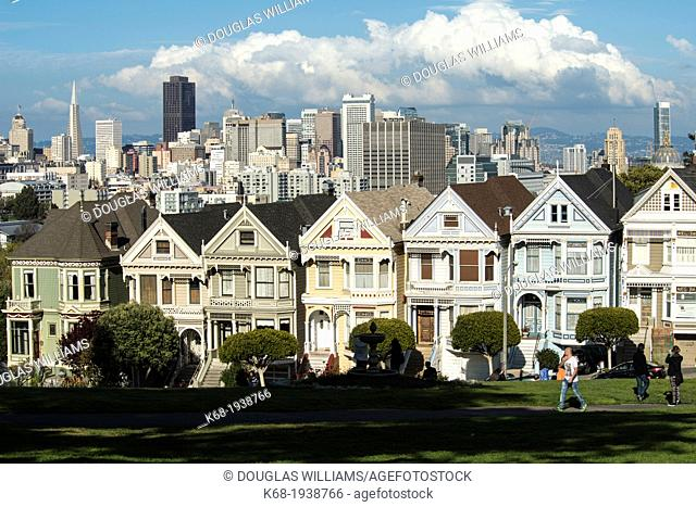 The Painted Ladies, houses on Alamo Square in San Francisco, California, USA