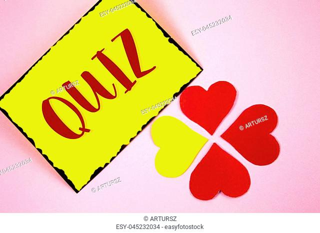 Writing note showing Quiz. Business photo showcasing Short Tests Evaluation Examination to quantify your knowledge written Sticky note paper plain Pink...
