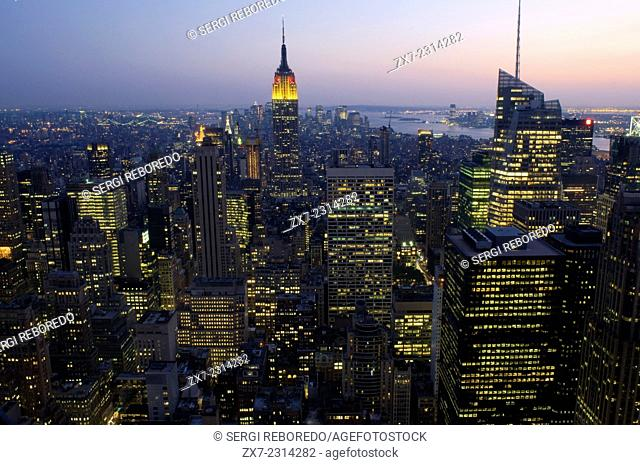View of Empire State Building and Midtown Manhattan, New York City. Empire State Building seen from the Top of the Rock at Rockefeller Center