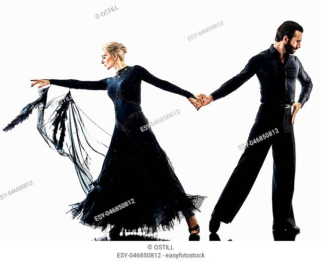 one caucasian man and woman couple ballroom tango salsa dancer dancing in studio silhouette isolated on white background