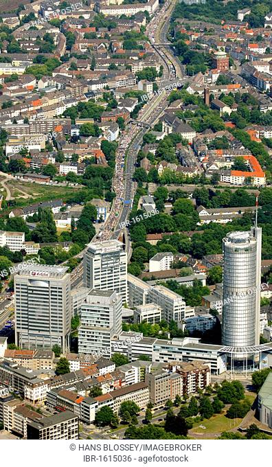 Aerial view, RUHR.2010 Action Still-life on the A 40, Essen, Ruhr Area, North Rhine-Westphalia, Germany, Europe