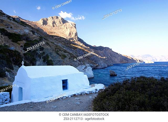 Chapel of Agia Anna from Gramvoussa, Amorgos, Cyclades Islands, Greek Islands, Greece, Europe