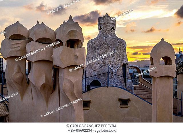 Terrace of the Casa Mila (La Pedrera) by the architect Antoni Gaudi at Paseo de Gracia Avenue in Barcelona, Catalonia, Spain
