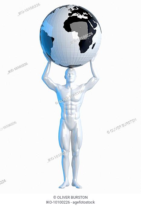 Statue of man holding world above head