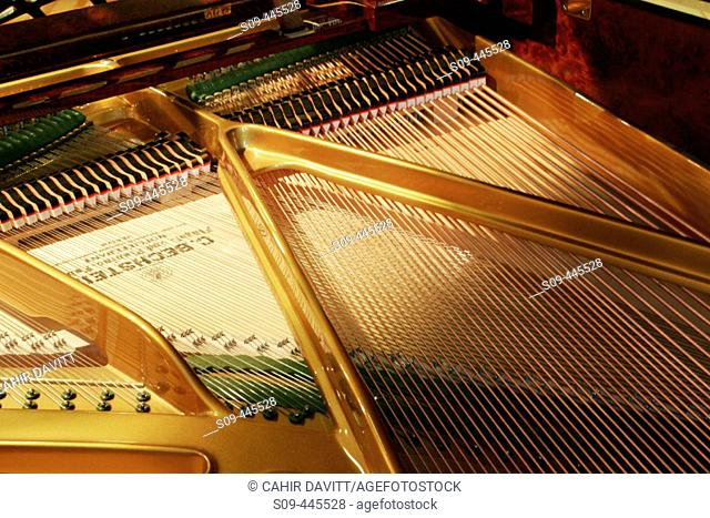 Interior of baby grand piano showing frame and strings