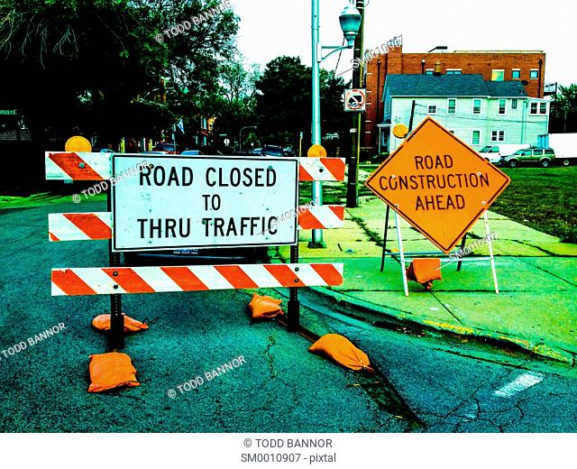 Road closed for construction, Logan Square neighborhood, Chicago, Illinois