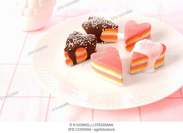 Colourful marshmallow hearts with icing