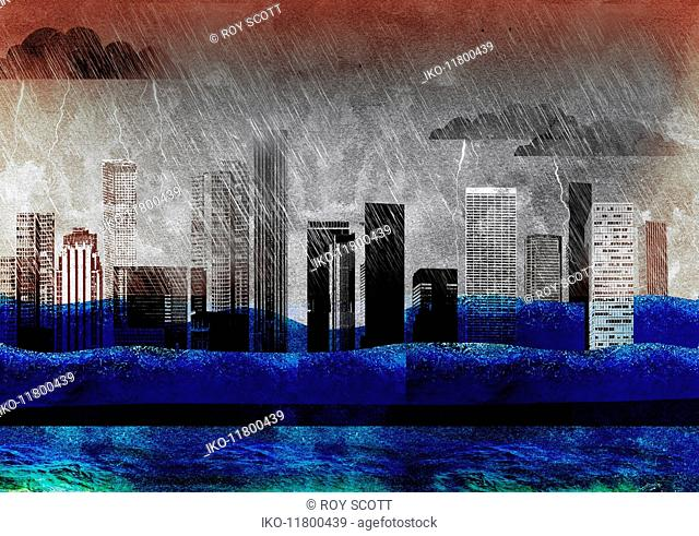City skyscrapers drowning in thunderstorm and rising waves