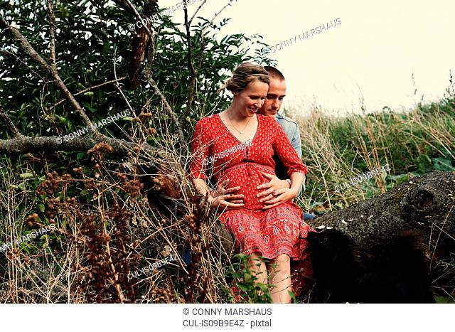 Romantic mid adult pregnant couple sitting on tree trunk