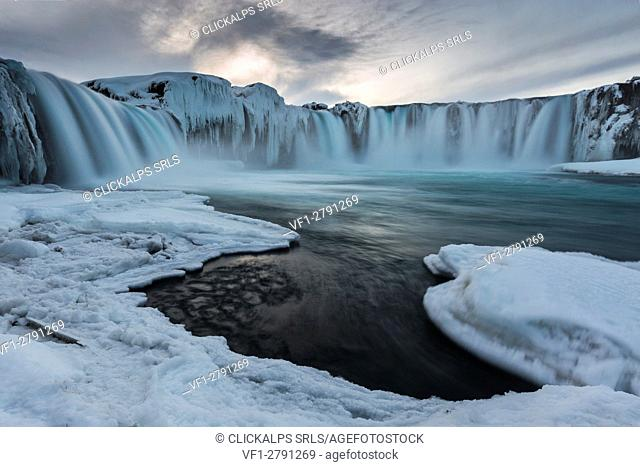 Gullfoss waterfall in norther Iceland near Akureyri after the sunset, during the blue hour in a cold winter evening
