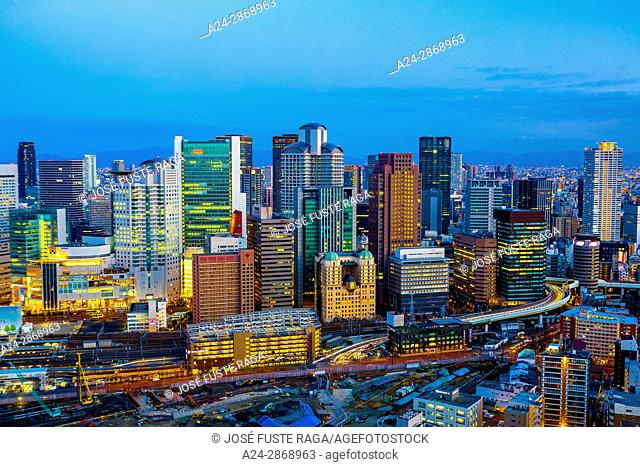 Japan, Osaka City, Umeda District skyline
