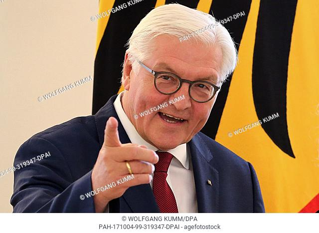 German President Frank-Walter Steinmeier pictured at an event where he awarded the Order of Merit of the Federal Republic of Germany at Schloss Bellevue in...