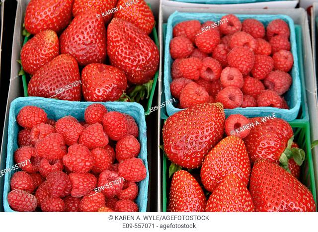 Two boxes of strawberries and two boxes of strawberries together in larger box, on table at farmers' market, southern California, USA