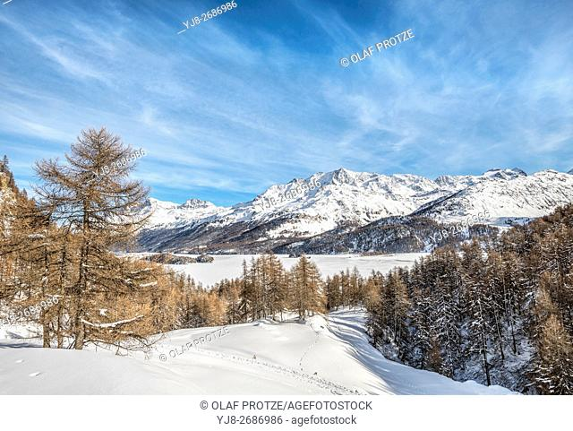 Winter landscape at Lake Sils, Engadine, Grisons, Switzerland