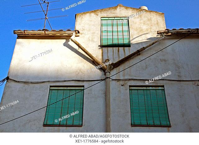 homes, gutters, shutters, Manresa, Catalonia, Spain