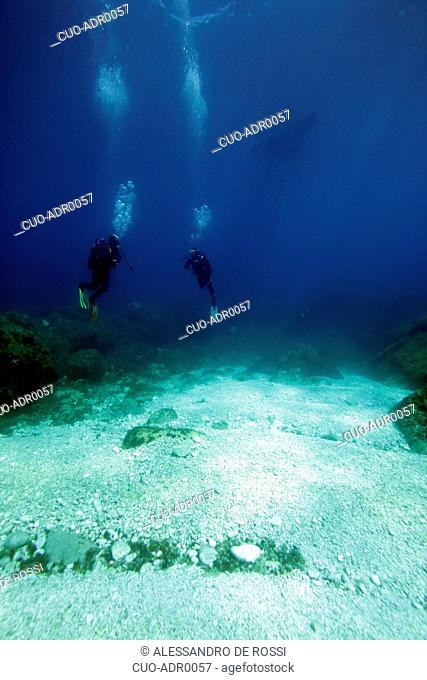 Diving, Levanzo island, Aegadian Islands, Sicily, Italy, Europe