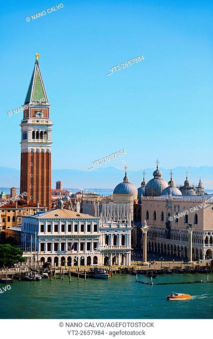 The Campanile di San Marco (St. Mark's bell tower) and domes of the Basilica of San Marco (St. Mark's Basilica), Venice, Italy
