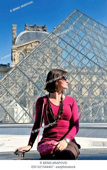 tourist woman have fun in france