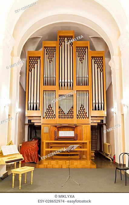 Detail of the organ music of the church, Russia