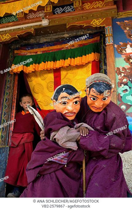 Monks with masks playing. Nomad summer festival in Tso Moriri lake, Ladakh (India)
