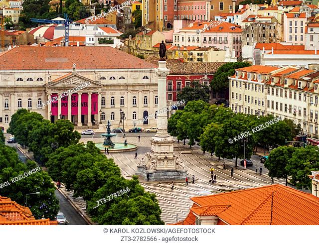 Portugal, Lisbon, Elevated view of the Pedro IV Square