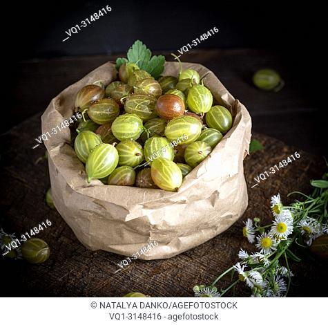 fresh green ripe gooseberry in a brown paper bag on a wooden board, black background