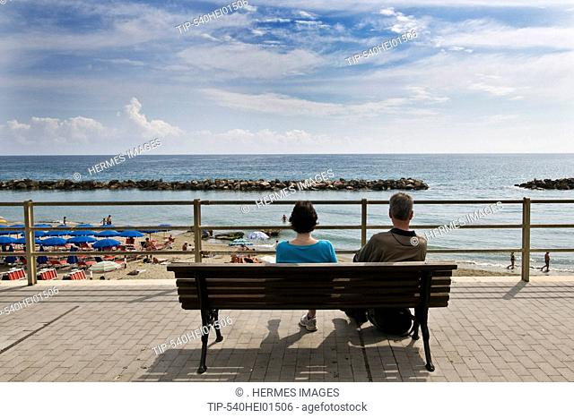 Italy, Liguria, Moneglia.The promenade