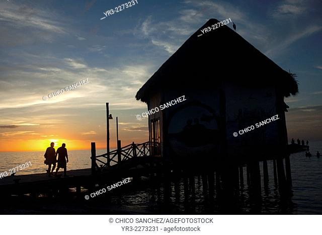 Sunset in the dock in Holbox, Quintana Roo, Yucatan Peninsula, Mexico