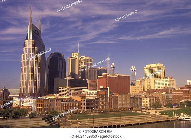 Nashville, TN, Tennessee, downtown, skyline, Cumberland River