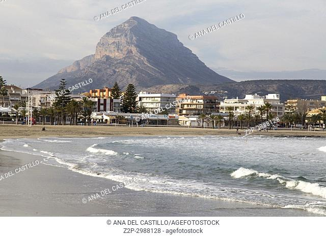 Arenal beach and Montgo mountain in Javea, Alicante, Spain