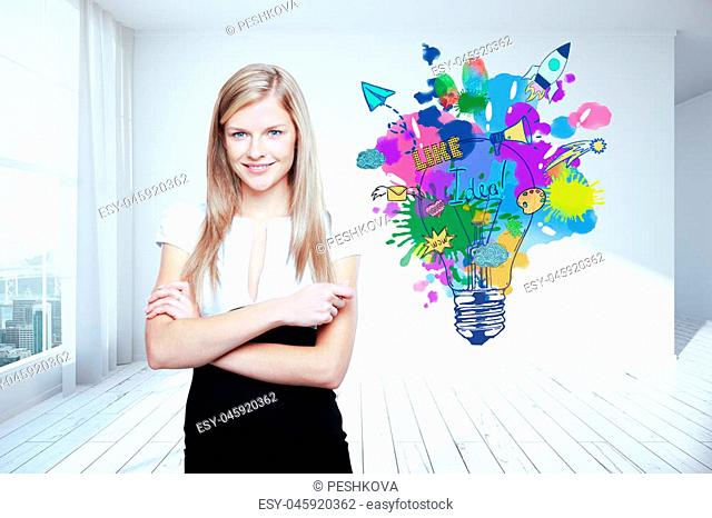 Confident young woman in interior with colorful lamp sketch. Creative idea concept