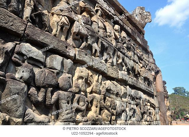 Angkor (Cambodia): reliefs on the Elephant Terrace