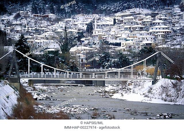 Bridge and view of tow under snow, Xanthi, Thrace, Greece